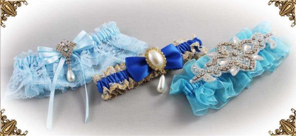 Blue Garters for Wedding or Prom-Garters-Bridal-Garter-Prom-Garters-Custom-Wedding-Garter-Linda-Joyce-couture
