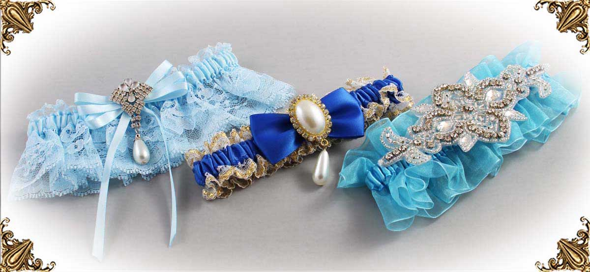 Blue Wedding Garters-Linda-Joyce-couture