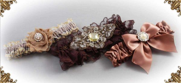 Brown Garters for Wedding or Prom-Bridal-Garter-Prom-Garters-Custom-Wedding-Garter-Linda-Joyce-couture