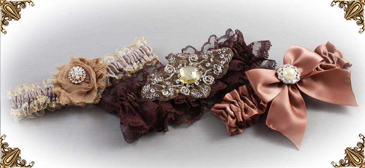Brown Wedding Garters-Bridal-Garters-Prom-Garters-Custom-Wedding-Garter-Linda-Joyce-Couture