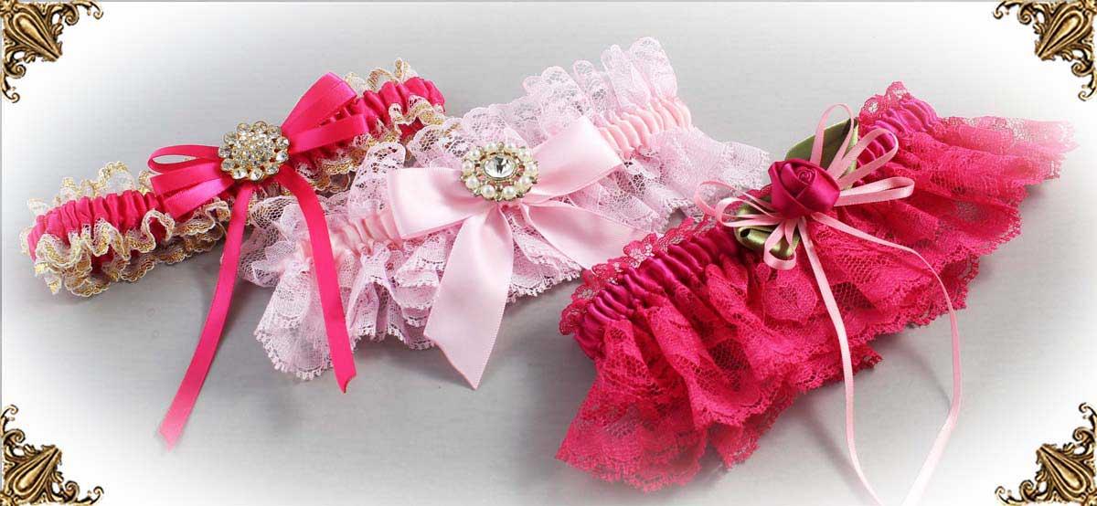 Pink Garters for Wedding or Prom-Bridal-Garter-Prom-Garters-Custom-Wedding-Garter-Linda-Joyce-couture