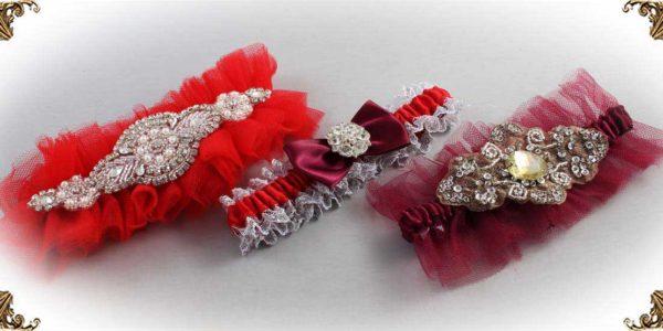 Red Garters for Wedding or Prom-Bridal-Garter-Prom-Garters-Custom-Wedding-Garter-Linda-Joyce-couture