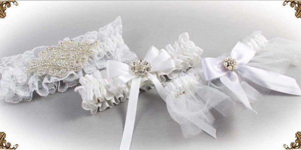 White Garters for Wedding or Prom-Bridal-Garter-Prom-Garters-Custom-Wedding-Garter-Linda-Joyce-couture