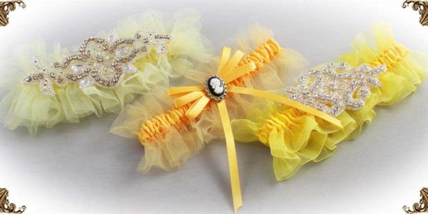 Yellow Garters for Wedding or Prom-Bridal-Garter-Prom-Garters-Custom-Wedding-Garter-Linda-Joyce-couture
