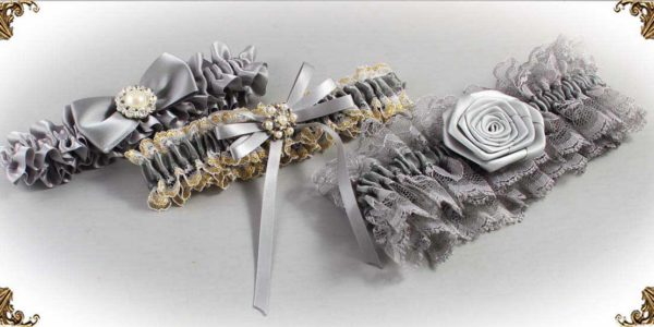 Silver Garters for Wedding or Prom-Bridal-Garter-Prom-Garters-Custom-Wedding-Garter-Linda-Joyce-couture