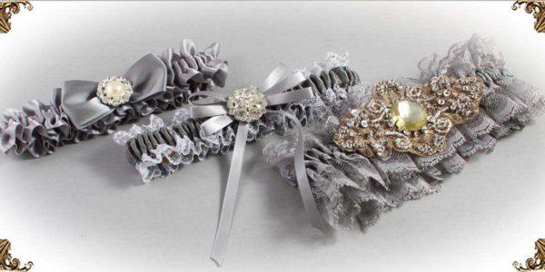 Gray Garters for Wedding or Prom-Bridal-Garter-Prom-Garters-Custom-Wedding-Garter-Linda-Joyce-couture