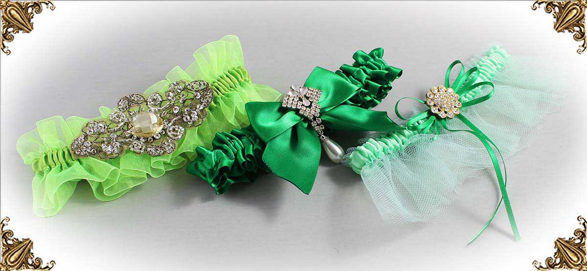Green-Wedding-Garters-Bridal-Garter-Prom-Garters-Custom-Wedding-Garter-Linda-Joyce-couture