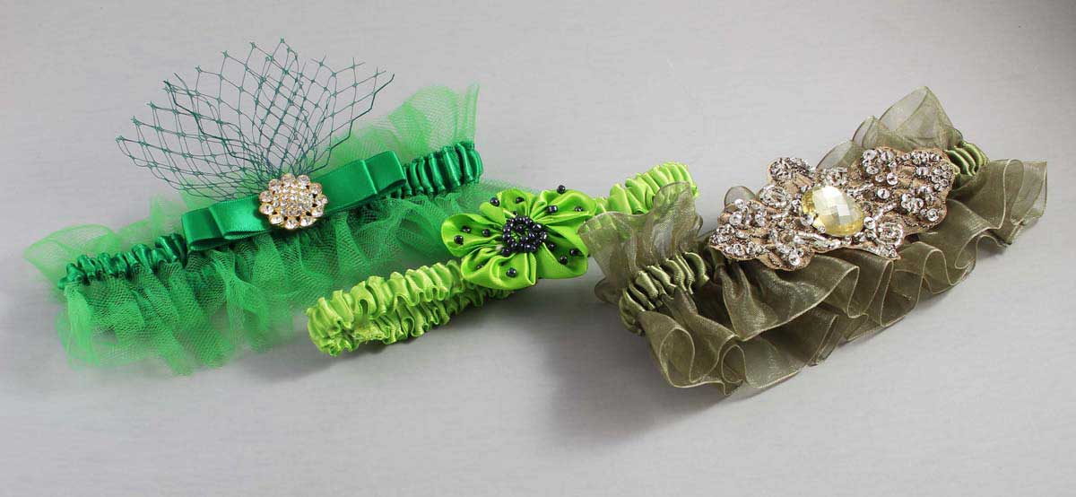 Solid-Green-Wedding-Garters-Bridal-Garter-Prom-Garters-Custom-Wedding-Garter-Linda-Joyce-couture