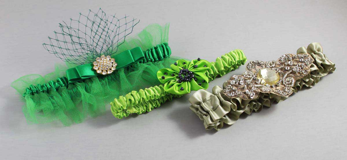 Green Garters for Wedding or Prom-Bridal-Garter-Prom-Garters-Custom-Wedding-Garter-Linda-Joyce-couture