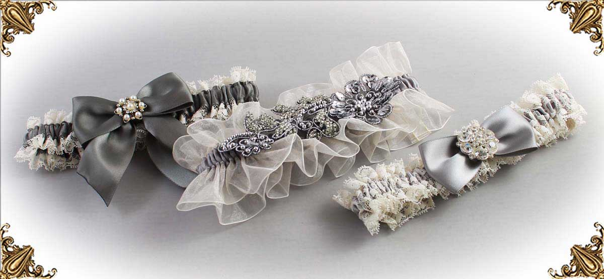 Ivory and Gray-Wedding-Garters-Bridal-Garter-Prom-Garters-Custom-Wedding-Garter-Linda-Joyce-couture
