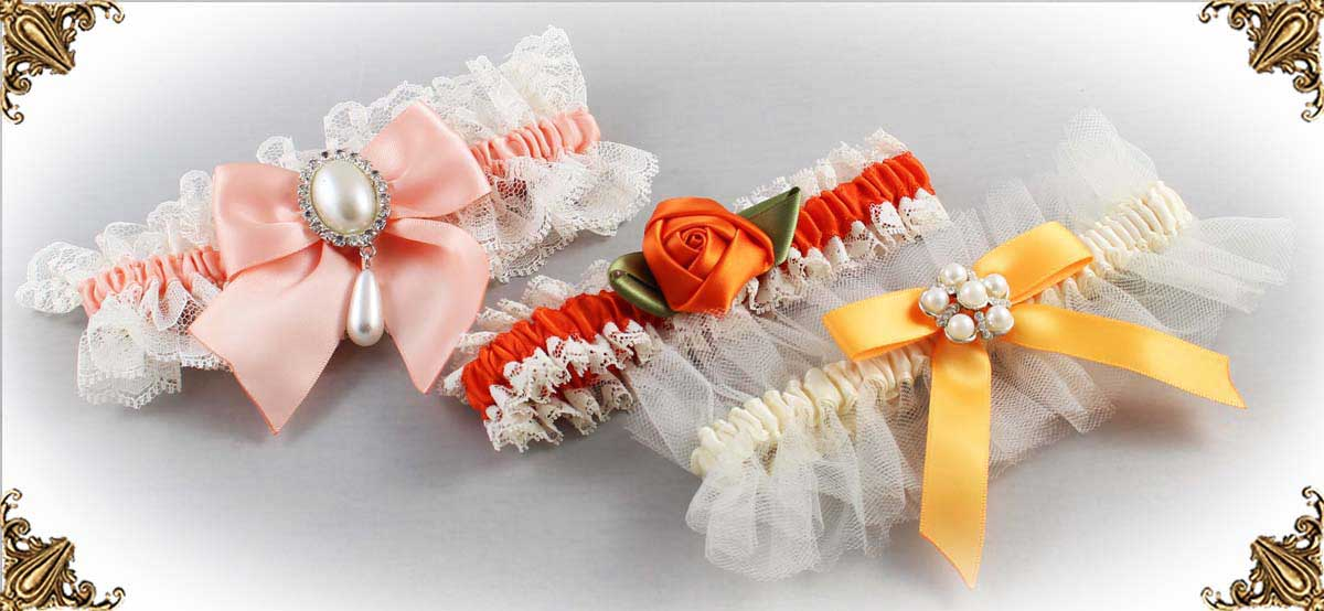 Ivory and Orange-Wedding-Garters-Bridal-Garter-Prom-Garters-Custom-Wedding-Garter-Linda-Joyce-couture