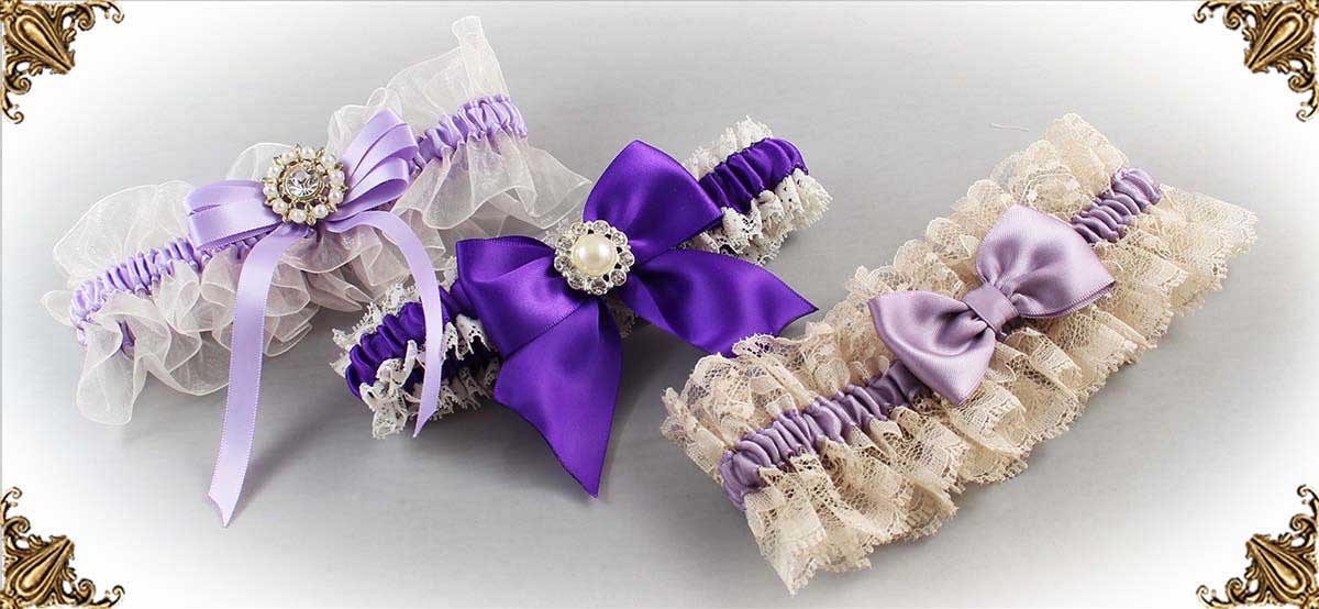 Ivory and Purple-Wedding-Garters-Bridal-Garters-Prom-Garters-Custom-Wedding-Garter-Linda-Joyce-Couture-Luxury-Bespoke