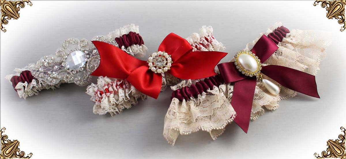 Ivory and Red-Wedding-Garters-Bridal-Garter-Prom-Garters-Custom-Wedding-Garter-Linda-Joyce-couture