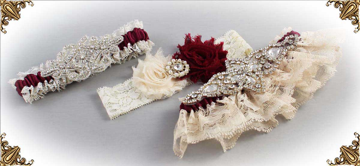 Ivory and Burgundy-Wedding-Garters-Bridal-Garter-Prom-Garters-Custom-Wedding-Garter-Linda-Joyce-couture