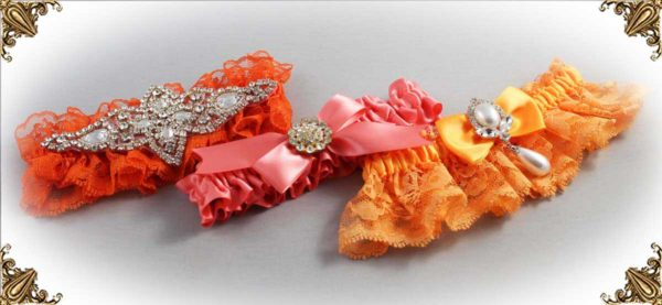 Orange Garters for Wedding or Prom-Bridal-Garter-Prom-Garters-Custom-Wedding-Garter-Linda-Joyce-couture