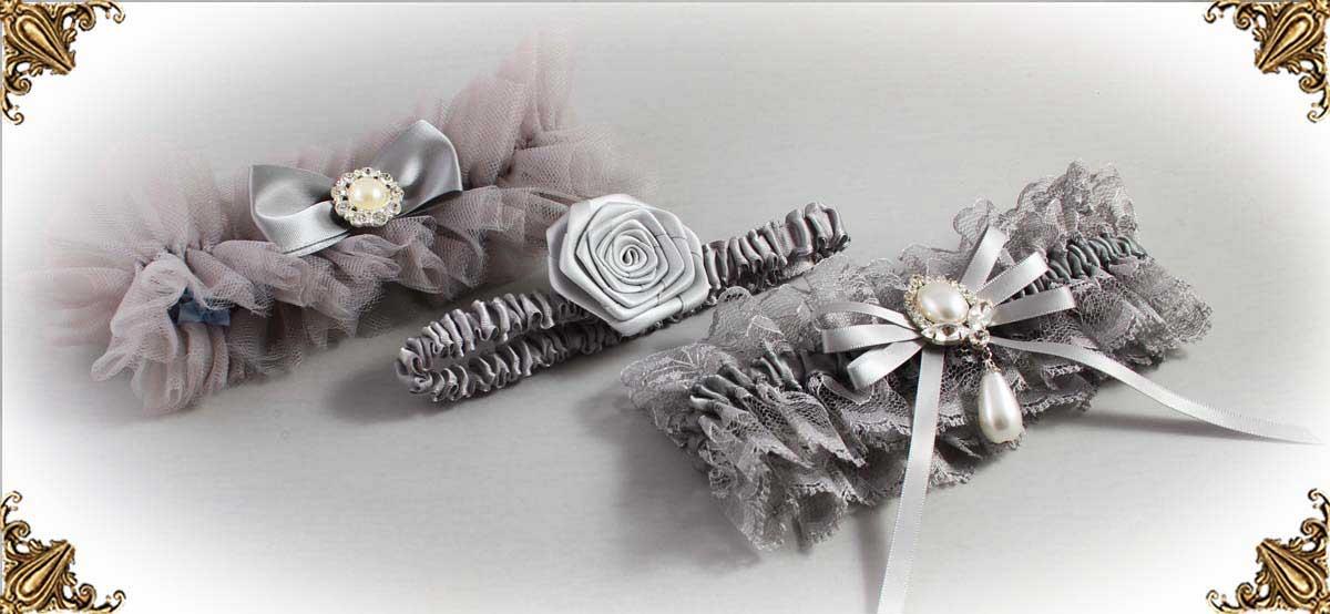 Solid-Gray-Wedding-Garters