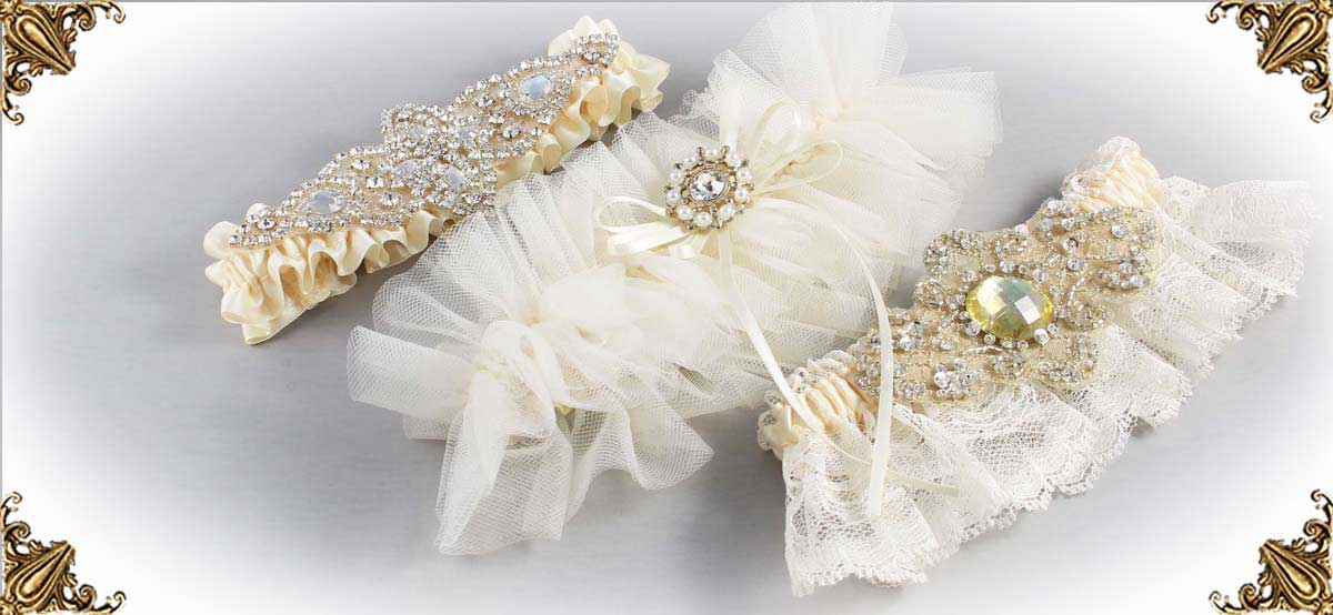 Ivory Garters for Wedding or Prom-Bridal-Garters-Prom-Garters-Custom-Wedding-Garter-Linda-Joyce-Couture-Luxury-Bespoke
