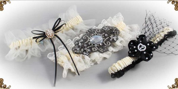 Ivory and Black-Wedding-Garters