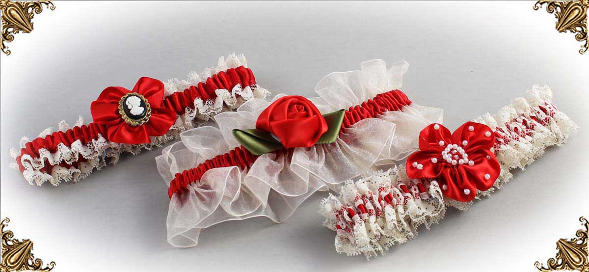 Ivory and Red Wedding Garters-Bridal-Garters-Prom Garters- Custom Wedding garters Linda Joyce Couture