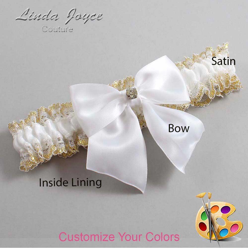 Customizable Wedding Garter / Pamela #04-B01-M03-Gold