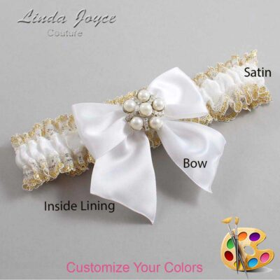 Customizable Wedding Garter / Monica #04-B01-M13-Silver