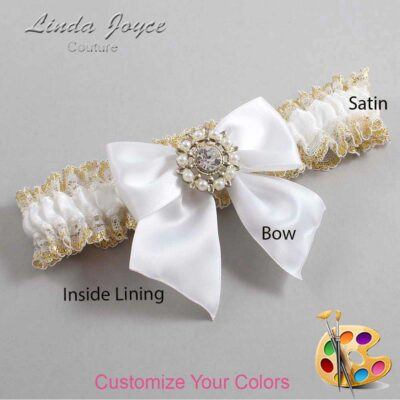 Customizable Wedding Garter / Adelle #04-B01-M14-Silver