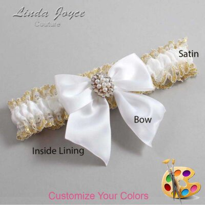 Customizable Wedding Garter / Annie #04-B01-M17-Gold