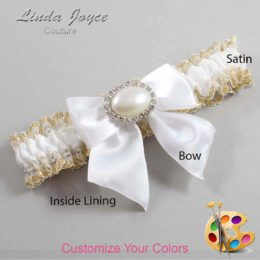 Customizable Wedding Garter / Nicole #04-B01-M30-Silver