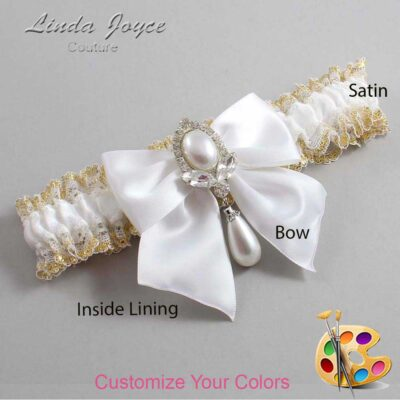 Customizable Wedding Garter / Jessica #04-B01-M32-Silver