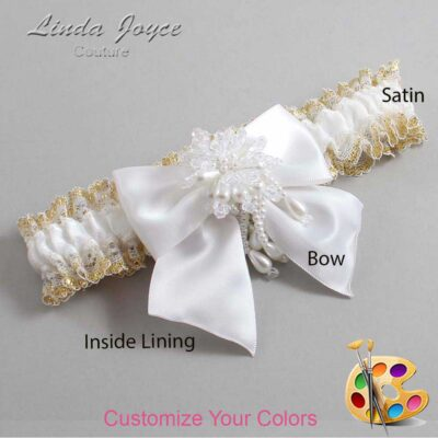 Customizable Wedding Garter / Daphne #04-B01-M38-Pearl