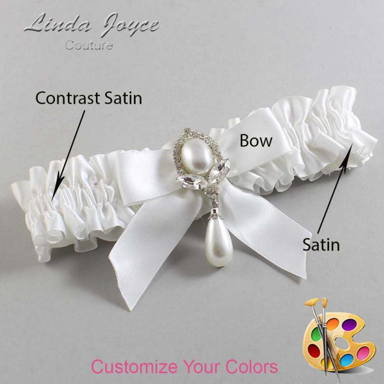 Couture Garters / Custom Wedding Garter / Customizable Wedding Garters / Personalized Wedding Garters / Tessa #01-B02-M32 / Wedding Garters / Bridal Garter / Prom Garter / Linda Joyce Couture