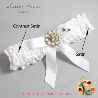 Couture Garters / Custom Wedding Garter / Customizable Wedding Garters / Personalized Wedding Garters / Caroline #01-B03-M14 / Wedding Garters / Bridal Garter / Prom Garter / Linda Joyce Couture