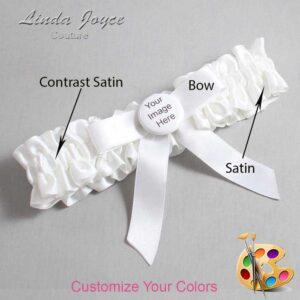 Couture Garters / Custom Wedding Garter / Customizable Wedding Garters / Personalized Wedding Garters / Custom Button #01-B03-M44 / Wedding Garters / Bridal Garter / Prom Garter / Linda Joyce Couture