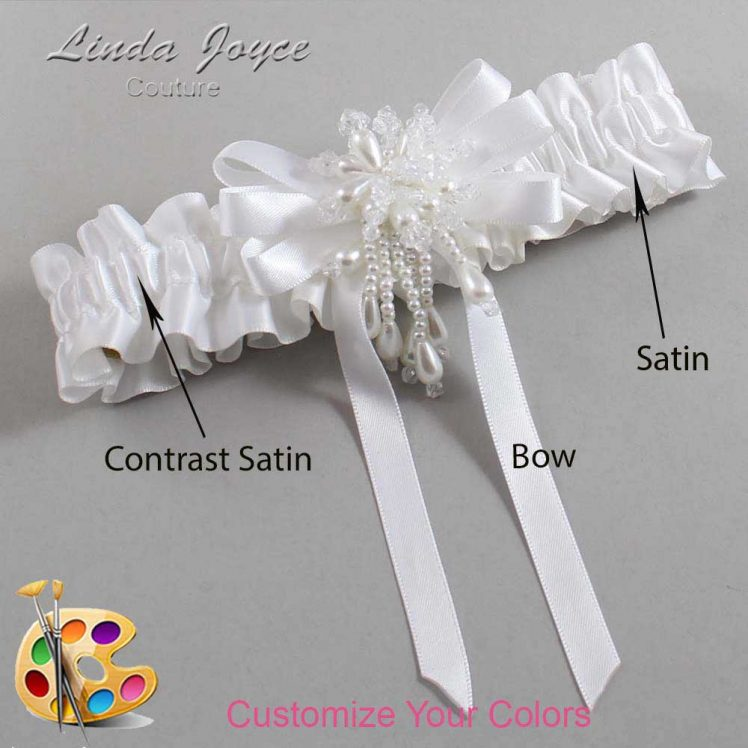 Couture Garters / Custom Wedding Garter / Customizable Wedding Garters / Personalized Wedding Garters / Paula #01-B12-M38 / Wedding Garters / Bridal Garter / Prom Garter / Linda Joyce Couture