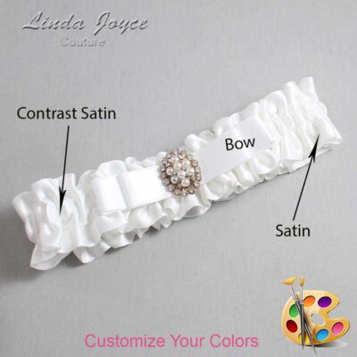 Couture Garters / Custom Wedding Garter / Customizable Wedding Garters / Personalized Wedding Garters / Inga #01-B20-M17 / Wedding Garters / Bridal Garter / Prom Garter / Linda Joyce Couture