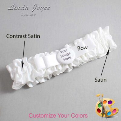Couture Garters / Custom Wedding Garter / Customizable Wedding Garters / Personalized Wedding Garters / Custom Button #01-B20-M44 / Wedding Garters / Bridal Garter / Prom Garter / Linda Joyce Couture