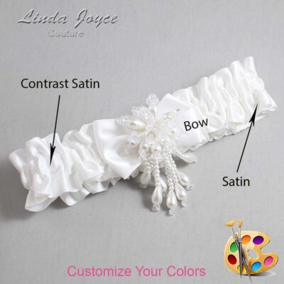 Couture Garters / Custom Wedding Garter / Customizable Wedding Garters / Personalized Wedding Garters / Loni #01-B21-M38 / Wedding Garters / Bridal Garter / Prom Garter / Linda Joyce Couture