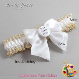 Couture Garters / Custom Wedding Garter / Customizable Wedding Garters / Personalized Wedding Garters / Custom Button #04-B01-M44 / Wedding Garters / Bridal Garter / Prom Garter / Linda Joyce Couture