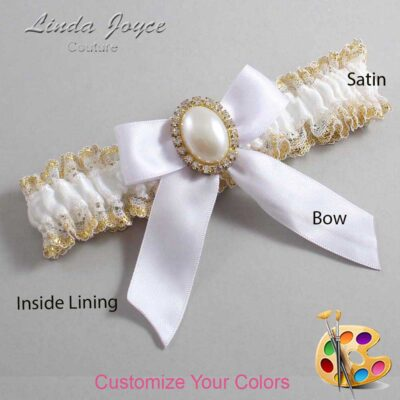 Couture Garters / Custom Wedding Garter / Customizable Wedding Garters / Personalized Wedding Garters / Niki #04-B02-M29 / Wedding Garters / Bridal Garter / Prom Garter / Linda Joyce Couture