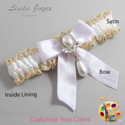 Couture Garters / Custom Wedding Garter / Customizable Wedding Garters / Personalized Wedding Garters / Tessa #04-B02-M32 / Wedding Garters / Bridal Garter / Prom Garter / Linda Joyce Couture