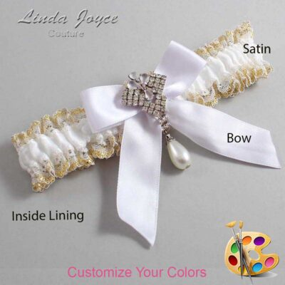 Couture Garters / Custom Wedding Garter / Customizable Wedding Garters / Personalized Wedding Garters / Vera #04-B02-M33 / Wedding Garters / Bridal Garter / Prom Garter / Linda Joyce Couture