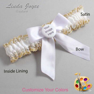 Couture Garters / Custom Wedding Garter / Customizable Wedding Garters / Personalized Wedding Garters / Custom Button #04-B02-M44 / Wedding Garters / Bridal Garter / Prom Garter / Linda Joyce Couture