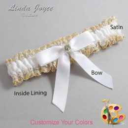 Customizable Wedding Garter / Jana #04-B03-M03-Gold