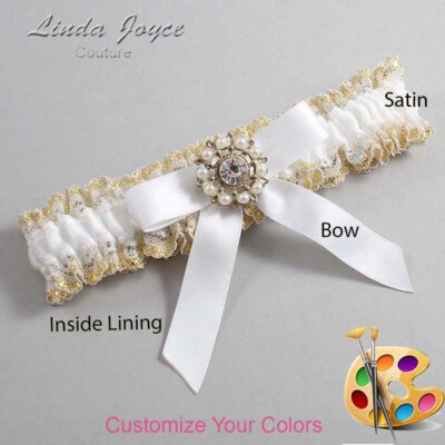 Customizable Wedding Garter / Caroline #04-B03-M14-Silver