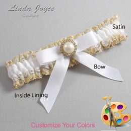 Customizable Wedding Garter / Doreen #04-B03-M21-Gold