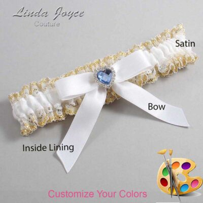 Customizable Wedding Garter / Gina #04-B03-M25-Silver-Light-Sapphire