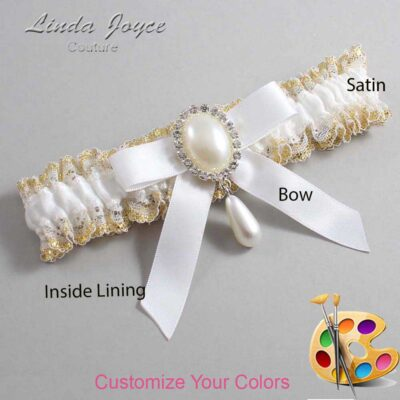 Couture Garters / Custom Wedding Garter / Customizable Wedding Garters / Personalized Wedding Garters / Demi #04-B03-M35 / Wedding Garters / Bridal Garter / Prom Garter / Linda Joyce Couture