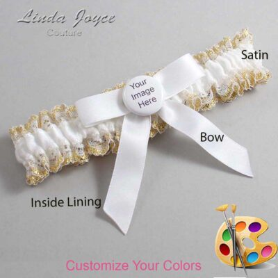 Couture Garters / Custom Wedding Garter / Customizable Wedding Garters / Personalized Wedding Garters / Custom Button #04-B03-M44 / Wedding Garters / Bridal Garter / Prom Garter / Linda Joyce Couture