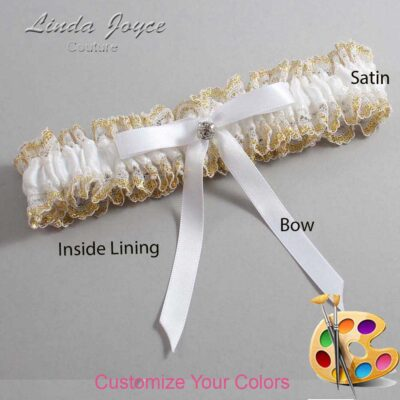 Customizable Wedding Garter / Bridie #04-B04-M04-Silver
