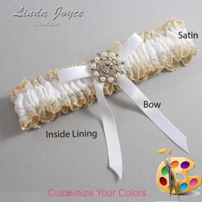 Customizable Wedding Garter / Chandra #04-B04-M14-Silver